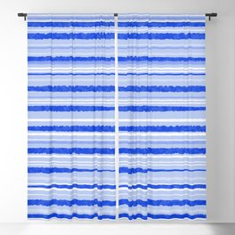 Watercolor Striped Pattern Royal Blue Light Blue White Blackout Curtain
