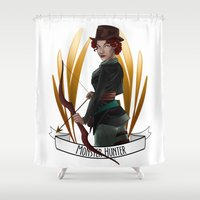 monster hunter Shower Curtains featuring Steampunk Occupation Series: Monster Hunter by kortothecore