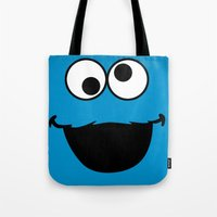 cookie monster Tote Bags featuring Cookie Monster by Adel