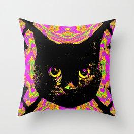 Purple Streak Quad Cat Throw Pillow