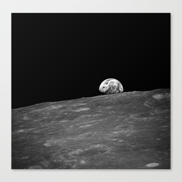The first photograph Earthrise during Apollo 8. Canvas Print