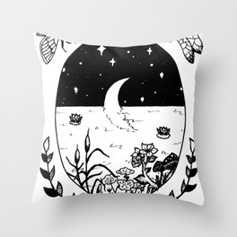 Moon River Marsh Illustration Throw Pillow