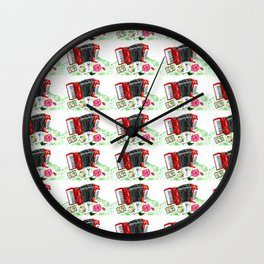 Retro red accordion Wall Clock