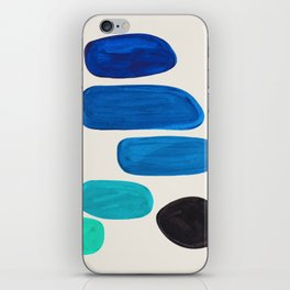 Mid Century Modern Retro Minimalist Colorful Shapes Phthalo Blue Marine Green Gradient Pebbles iPhone Skin