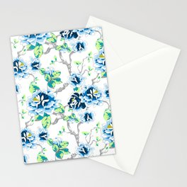 Chinoiserie Ming style Blue Floral on White Pattern Spring Flowers Shabby Chic Stationery Cards