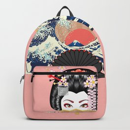 Portrait of japanese geisha woman with traditional fan design Backpack
