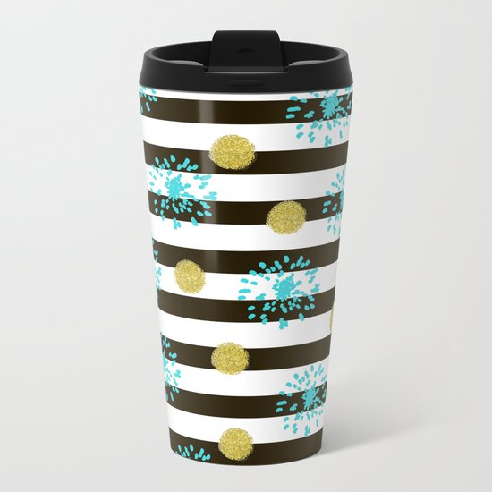 A festive mood. Striped background black and white with blue fireworks and Golden peas . Metal Travel Mug