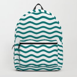Teal and White Chevron Wave Backpack