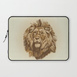 Portrait of a Lion King -  vintage hand drawn illustration Laptop Sleeve
