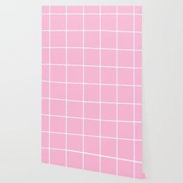Pink white minimalist grid pattern Wallpaper