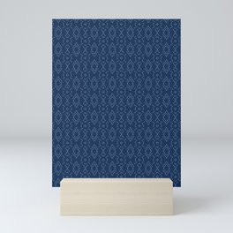 Indigo blue diamond sashiko style japanese embroidery pattern. Mini Art Print