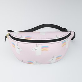 Cute Unicorn on Pink Background Fanny Pack