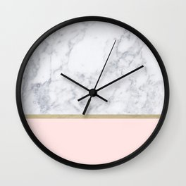 Marble Gold Blush Pink Pattern Wall Clock