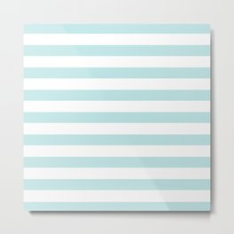 Simply Striped in Succulent Blue Stripes on White Metal Print