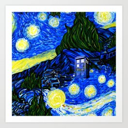 tardis srarry night Art Print