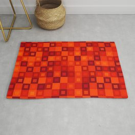 Strict mosaic of red intersecting squares and dark blocks. Rug