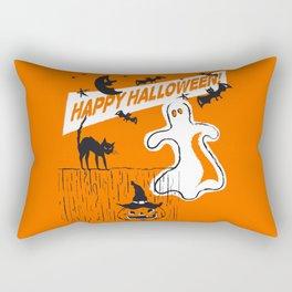 Rustic Vintage Spooky Happy Halloween Rectangular Pillow