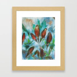 """Freedom"" painting of robins in an abstract sky, with trees Framed Art Print"