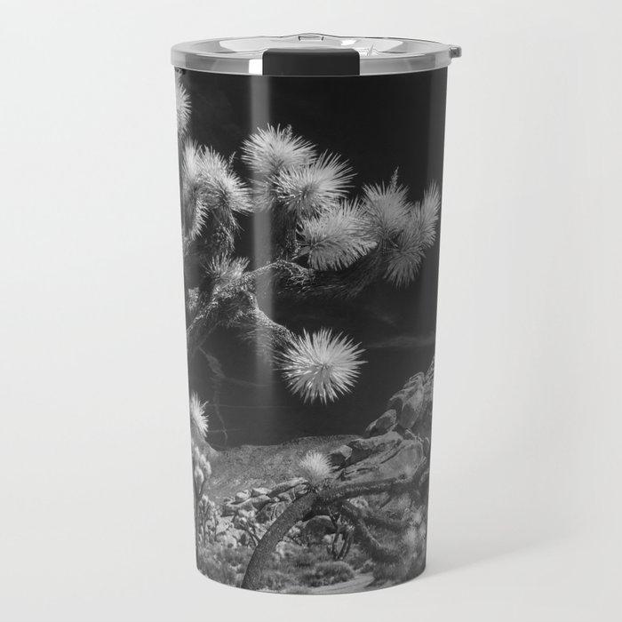 Joshua Trees and Boulders in Infrared Black and White at Joshua Tree National Park California Travel Mug