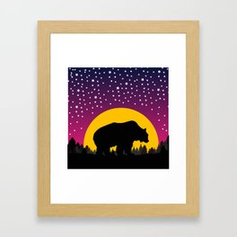 Bear Stars Moon Framed Art Print