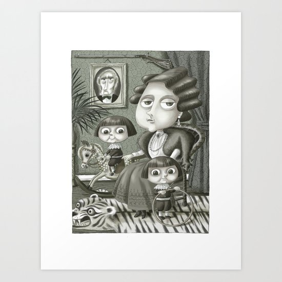 Lady Shiverton and Her Boys Art Print