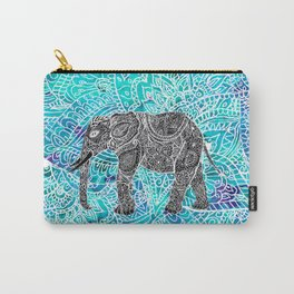 Mandala paisley boho elephant blue turquoise watercolor illustration Carry-All Pouch