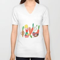 vegetables V-neck T-shirts featuring Vegetables Party. by Elga Libano