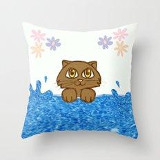Cute Cat in Bath Tub Throw Pillow
