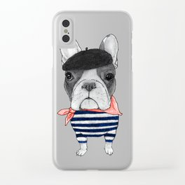 Frenchie with Arc de Triomphe Clear iPhone Case