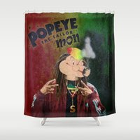 popeye Shower Curtains featuring POPEYE THE SAILOR MON - 018 by Lazy Bones Studios