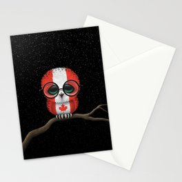 Baby Owl with Glasses and Canadian Flag Stationery Cards