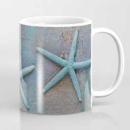 Turquoise Starfish on textured Background Coffee Mug