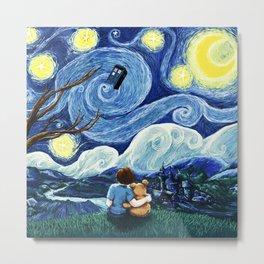 Watching The Tardis Flying In Starry Night Metal Print