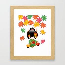 Japanese Fall Kokeshi Doll Framed Art Print