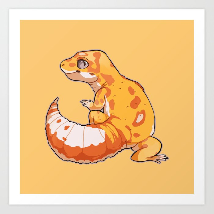 High Contrast Leopard Gecko Art Print by cargorabbit | Society6