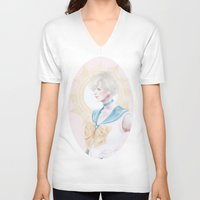 sailormoon V-neck T-shirts featuring Sailor Uranus by Pastellish