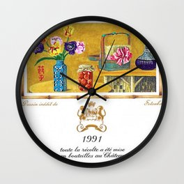 Vintage 1991 Chateau Mouton Rothschild Wine Bottle Label Print Wall Clock