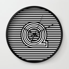 Track - Letter Q - Black and White Wall Clock
