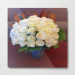 White roses in a blue vase  Metal Print