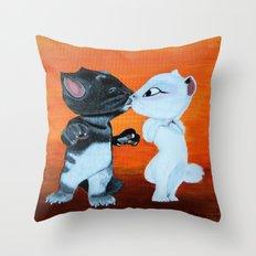 Kissing Cats Throw Pillow