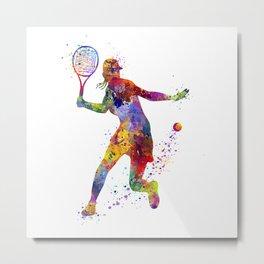 Girl Tennis Forehand Colorful Watercolor Metal Print