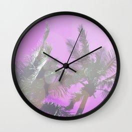 Pink Palm Trees Wall Clock