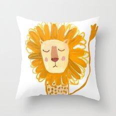 Yellow Lion Throw Pillow