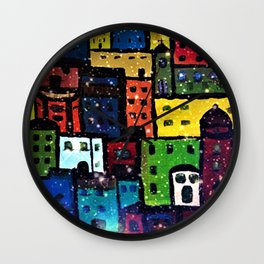 Snowing in the City Wall Clock