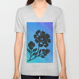 Rose Silhouette with Painted Blue Background Unisex V-Neck