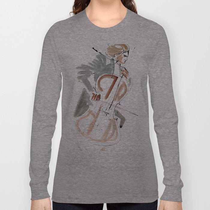 Cello Player Musician Expressive Drawing Long Sleeve T-shirt