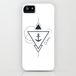 Creative Illustration In Geometric Style. Anchor, Ocean, Ship, Adventure, Nautical iPhone Case
