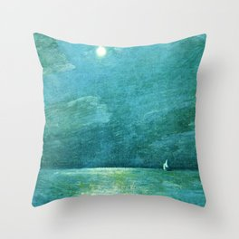 Classical Masterpiece 'Moonlight on the Sound' by Frederick Childe Hassam Throw Pillow