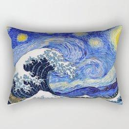 """Hokusai,""""The Great Wave off Kanagawa"""" + van Gogh,""""Starry night"""" Rectangular Pillow"""