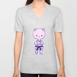 Karate cat animal love kittens Mietz gift Unisex V-Neck